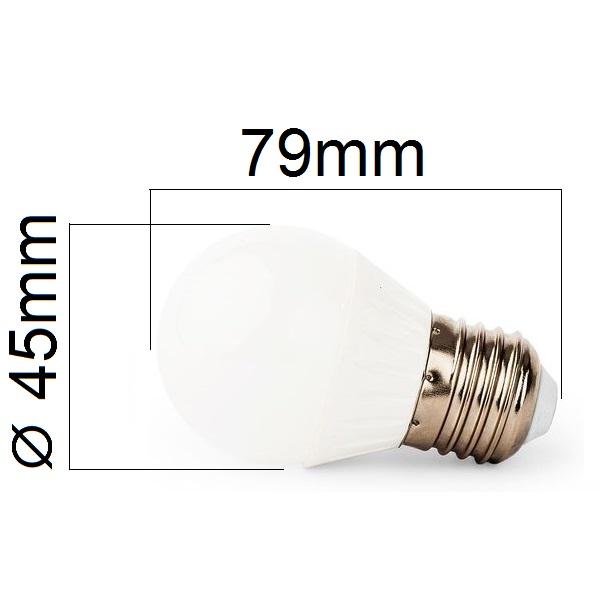 LED žárovka E27 4W 400lm G45  teplá, ekvivalent  40W