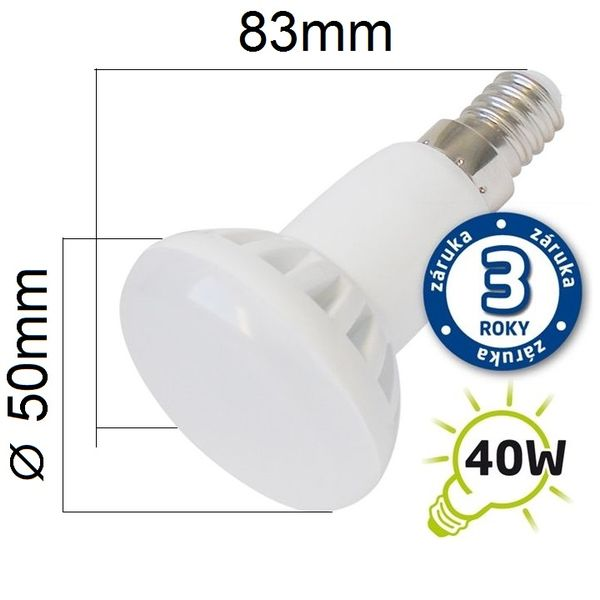LED žárovka E14 5W 400lm R50 denní,  ekvivalent 40W