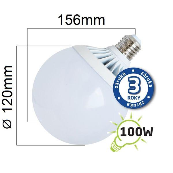LED žárovka E27 18W 1450lm G120 teplá, 3 roky