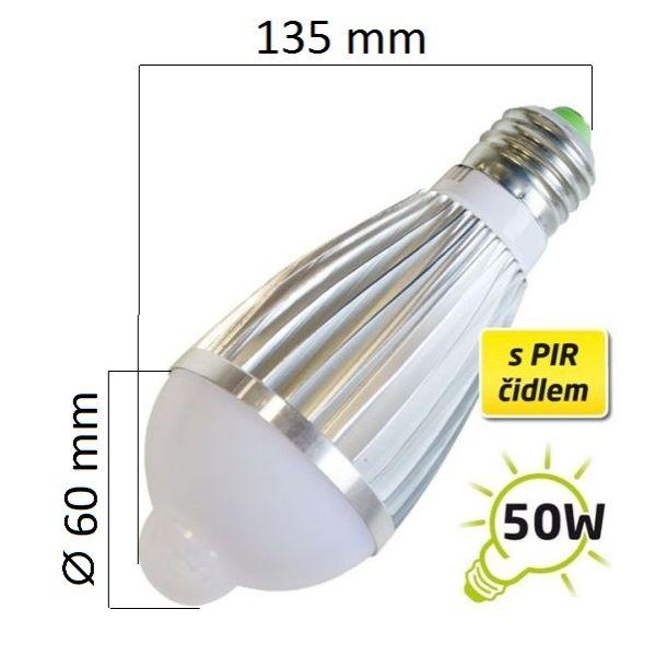 LED žárovka E27 7W 600lm teplá, se senzorem pohybu, ekvivalent 50W
