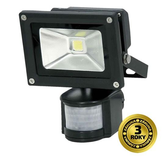 LED venkovn� reflektor, 10W, 700lm AC 230V, �ern�, se senzorem