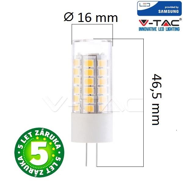 Prémiová LED žárovka G4 SAMSUNG čipy 3,5W 385lm 12V teplá, 5 let