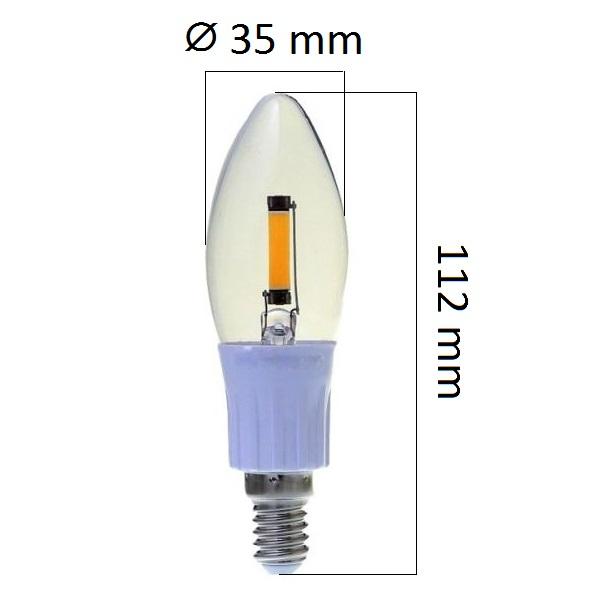 Retro  LED žárovka E14 2W 180lm, studená, filament, ekvivalent 20W