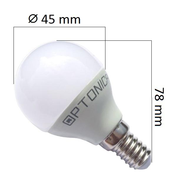 LED žárovka  E14 6W 480lm G45 teplá,  ekvivalent 40W