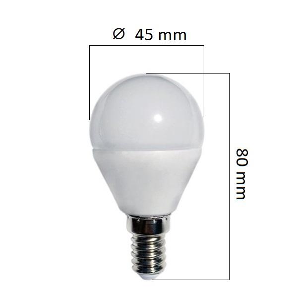 LED žárovka  E14 8,5W 800lm teplá G45, ekvivalent 54W