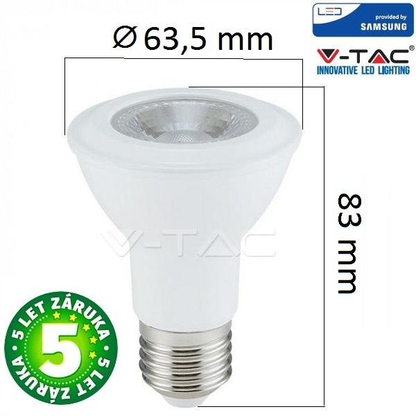 Prémiová LED žárovka E27 SAMSUNG čipy 7W 495lm, denní, 5 let