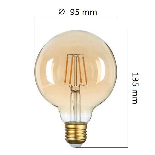 Retro LED žárovka E27 4W 400lm G95 extra teplá, filament,  ekvivalent 27W