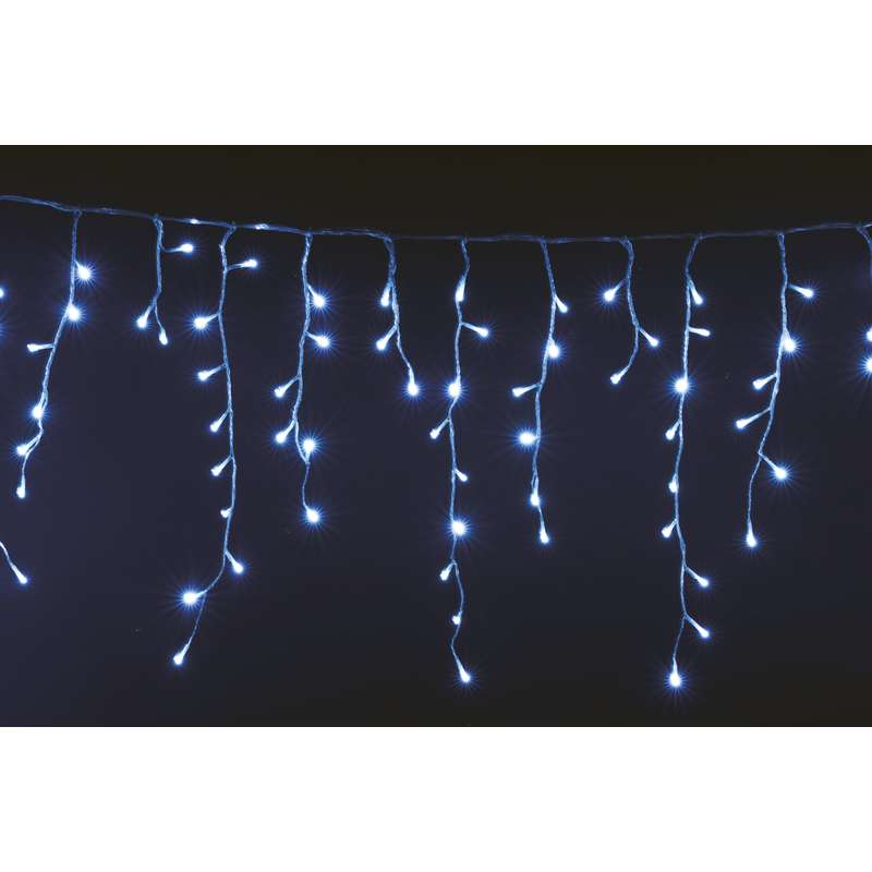 LED vánoční řetěz krápníky 6W studené světlo, 5m, voděodolný, 8 programů, ovladač