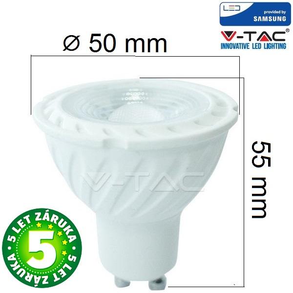 Prémiová LED žárovka GU10 SAMSUNG čipy 6,5W 480lm teplá