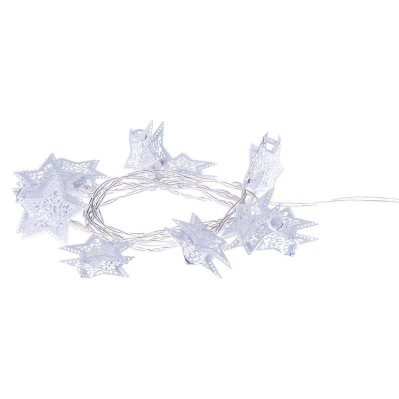 LED vánoční řetěž hvězdy 0,6W teplé světlo, 1,35m, časovač, na baterie