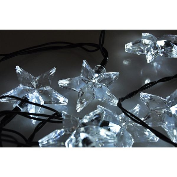 LED vánoční řetěz, hvězdy, 20 LED, 3m, přívod 3m, IP20, bílá
