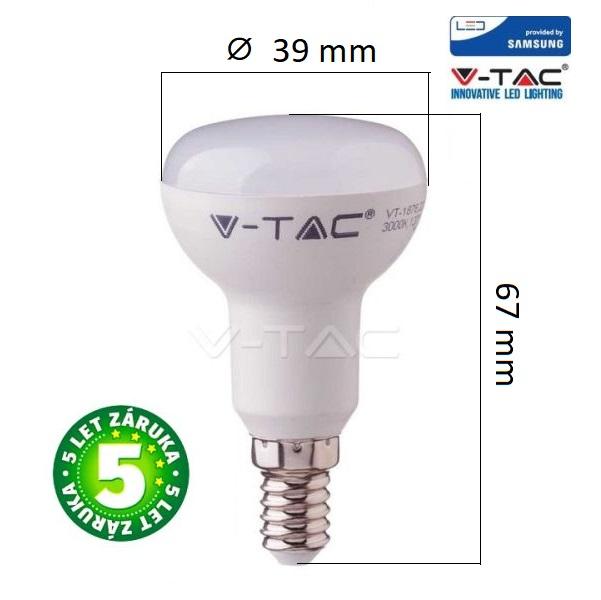 Prémiová LED žárovka E14 SAMSUNG čipy 3W 250lm R39, studená, 5 let