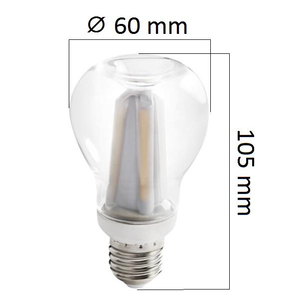 Retro LED žárovka E27 7W 750lm teplá, ekvivalent 60W