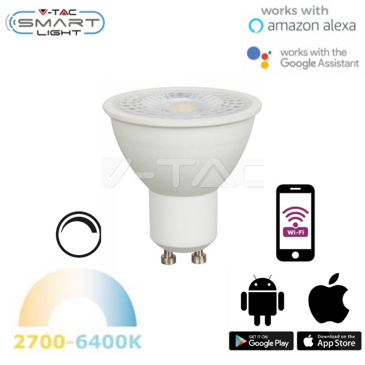 Chytrá LED žárovka  GU10  4,5W WIFI teplá, denní, studená (SMART)