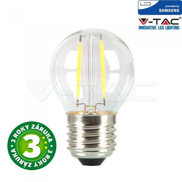 Prémiová retro LED žárovka E27 SAMSUNG čipy 4W 400lm G45 teplá, filament, 3 roky
