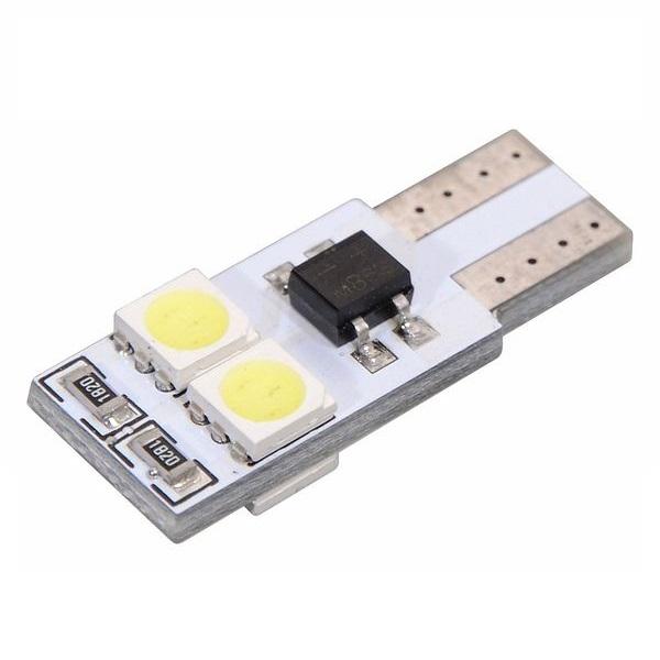 Led autožárovka 4 SMD LED 12V T10 s rezistorem CAN-BUS ready bílá