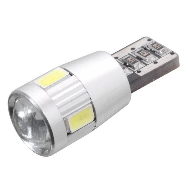 Led autožárovka 6 SMD LED 12V T10 s rezistorem CAN-BUS ready bílá