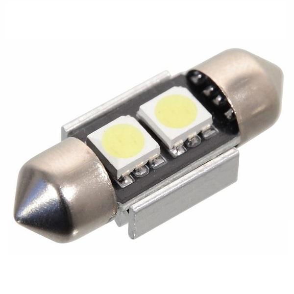 Led autožárovka 2 SMD LED 12V suf. SV8.5 32mm s rezistorem CAN-BUS ready bílá