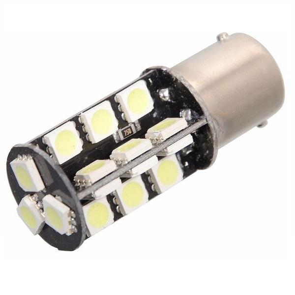 Led autožárovka 27 SMD LED 12V Ba15S s rezistorem CAN-BUS ready bílá