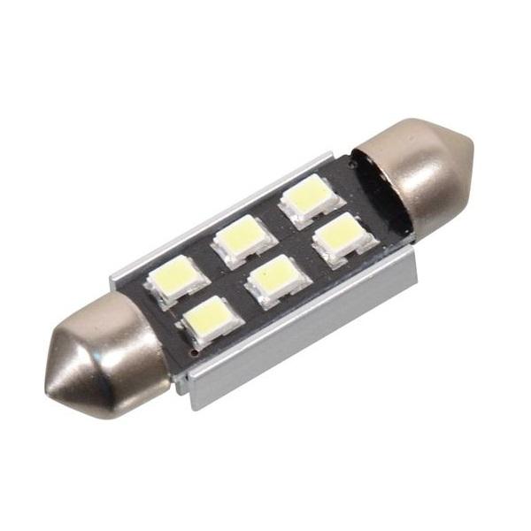 Led autožárovka 6 SMD LED 12V suf. SV8.5 38mm s rezistorem CAN-BUS bílá