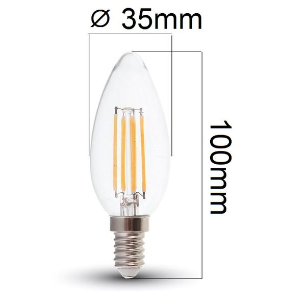 Retro LED žárovka E14 6W 730lm teplá, filament, ekvivalent 49W