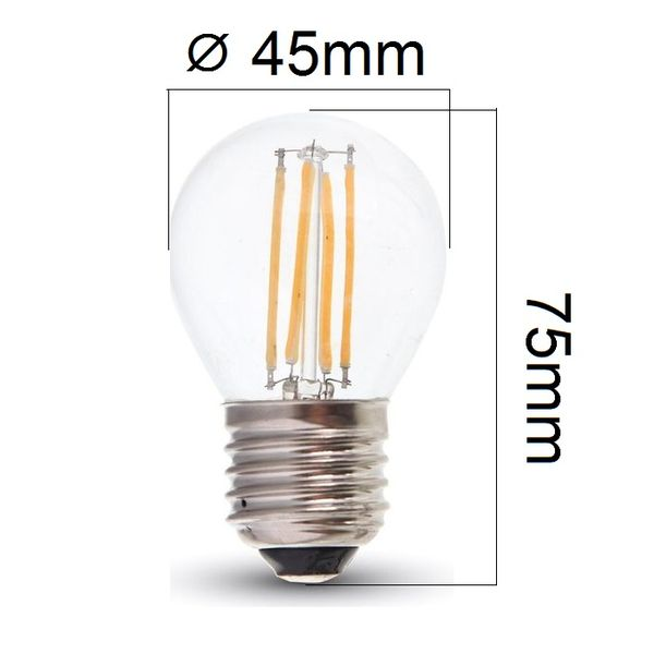 Retro LED žárovka E27 4W 400lm G45 denní, filament, ekvivalent 40W