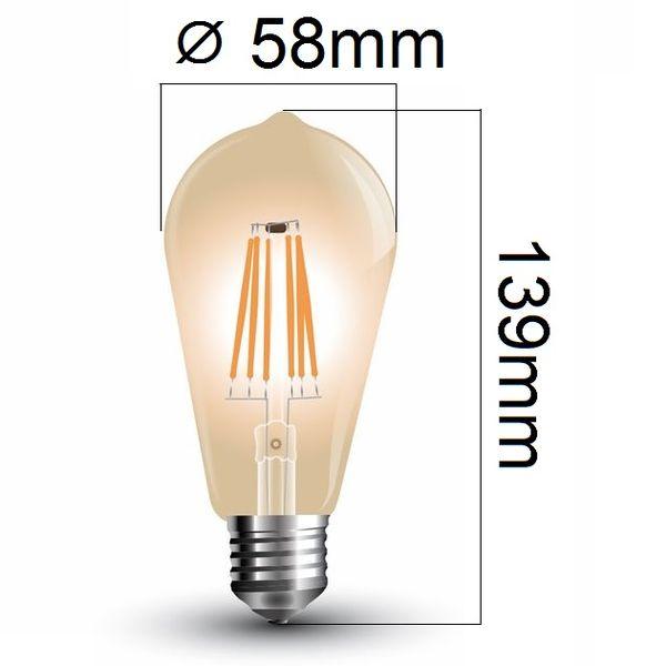 Retro LED žárovka E27 6W 500lm teplá, filament, ekvivalent 50W