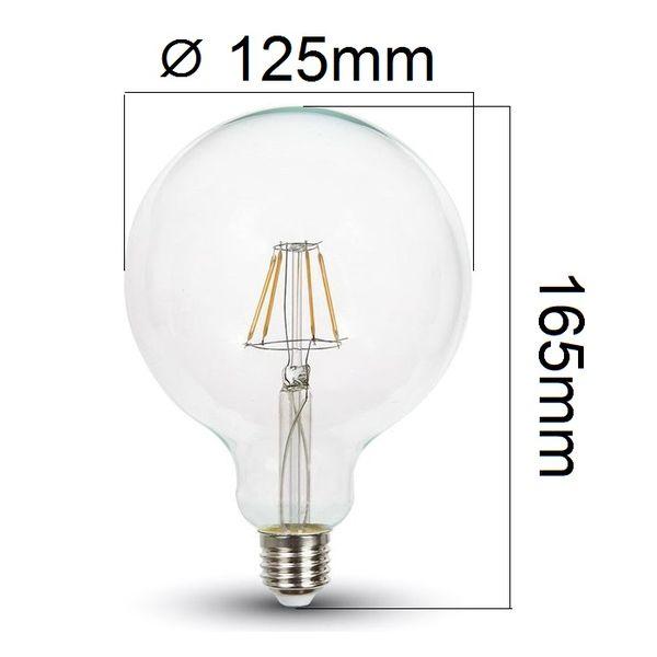 Retro LED žárovka E27 4W 320lm G125 teplá, filament, ekvivalent 30W