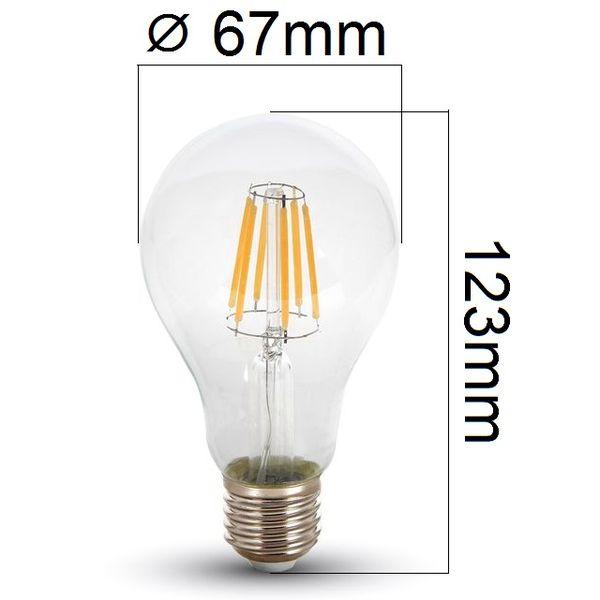 Retro LED žárovka E27 8W 800lm teplá, filament, ekvivalent 60W