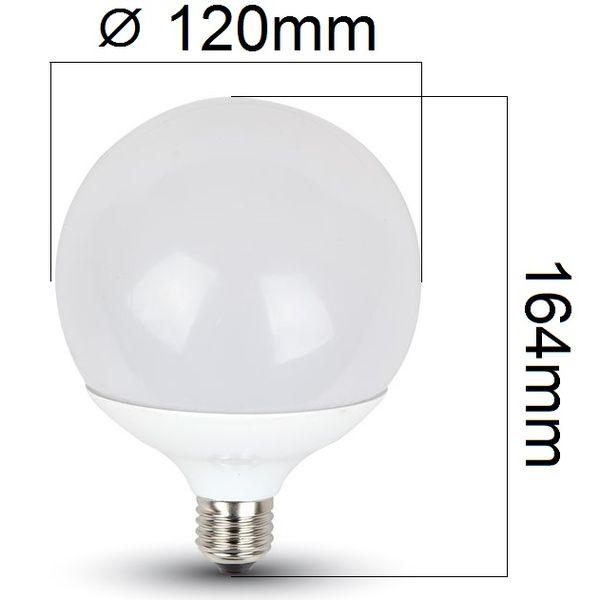 LED žárovka E27 18W 1800lm G120 teplá, ekvivalent 130W