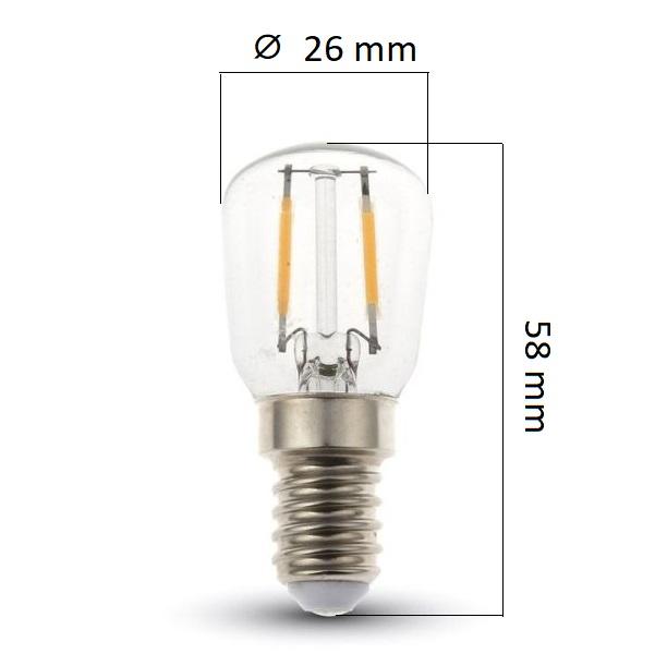 Retro LED žárovka E14 2W 180lm, studená, filament, ekvivalent 25W