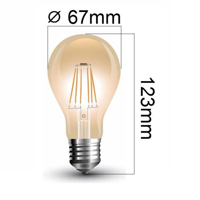 Retro LED žárovka E27 8W 720lm teplá, filament, ekvivalent 60W