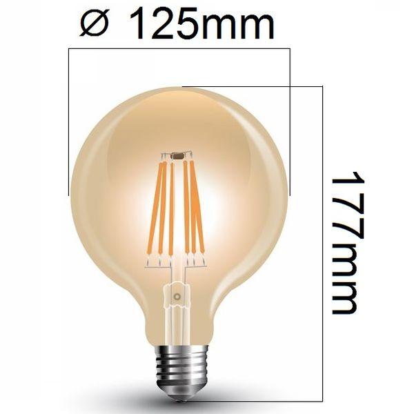 Retro LED žárovka E27 6W 550lm G125 teplá, filament, ekvivalent 55W
