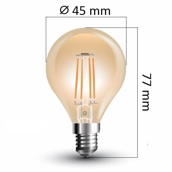 Retro LED žárovka  E14 4W 350lm G45 extra teplá, filament, ekvivalent  35W