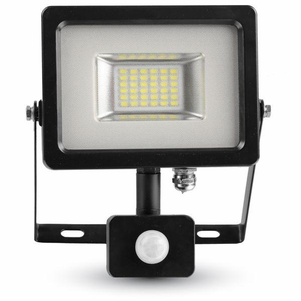 Ultratenký LED reflektor s čidlem pohybu černý 20W 1600lm denní