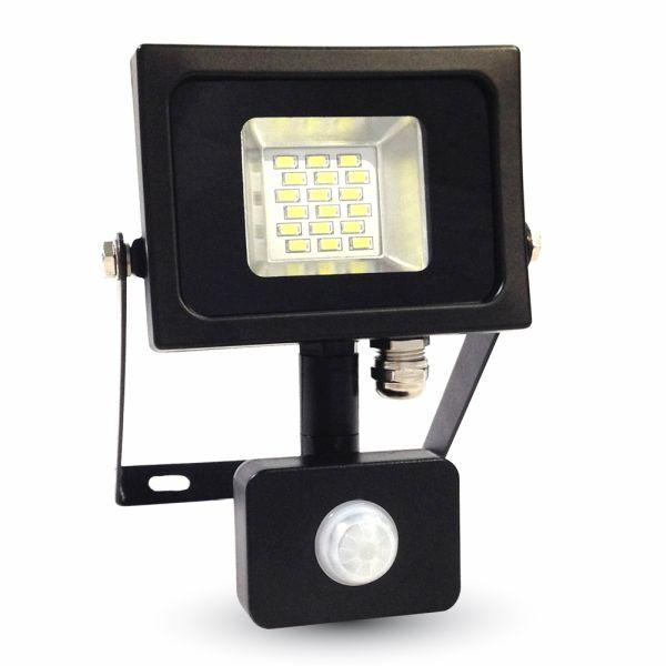 Ultratenký LED reflektor s čidlem pohybu černý 10W 800lm teplá