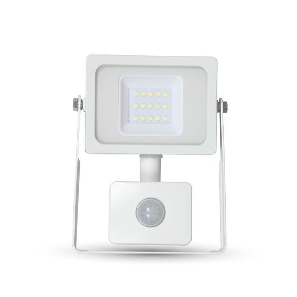 Ultratenký LED reflektor s čidlem pohybu bílý 10W 800lm, denní