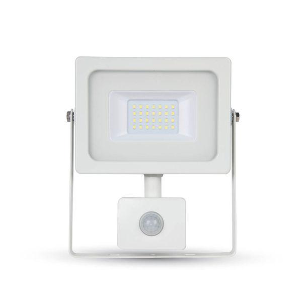 Ultratenký LED reflektor s čidlem pohybu bílý 20W 1600lm, studená
