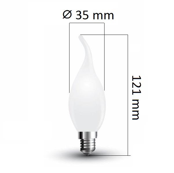 Retro LED  žárovka  E14 4W 350lm teplá, filament, ekvivalent 40W