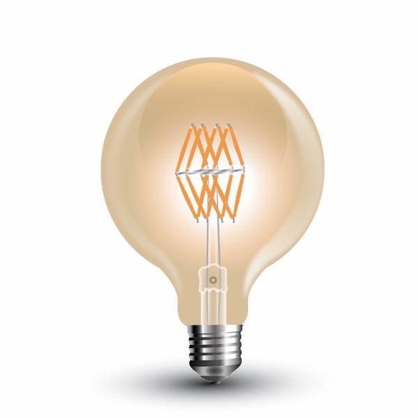 Retro LED žárovka E27 8W 800lm G95 teplá, filament, ekvivalent 65W