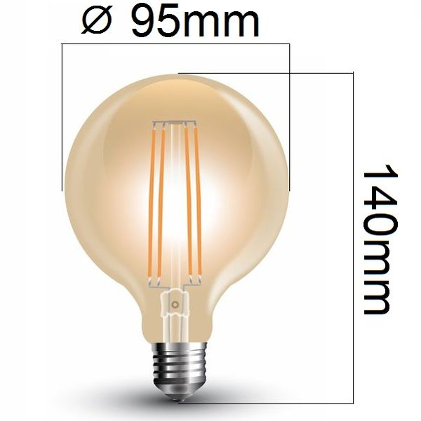 Retro LED žárovka E27 7W 700lm G95 extra teplá, filament, ekvivalent 60W