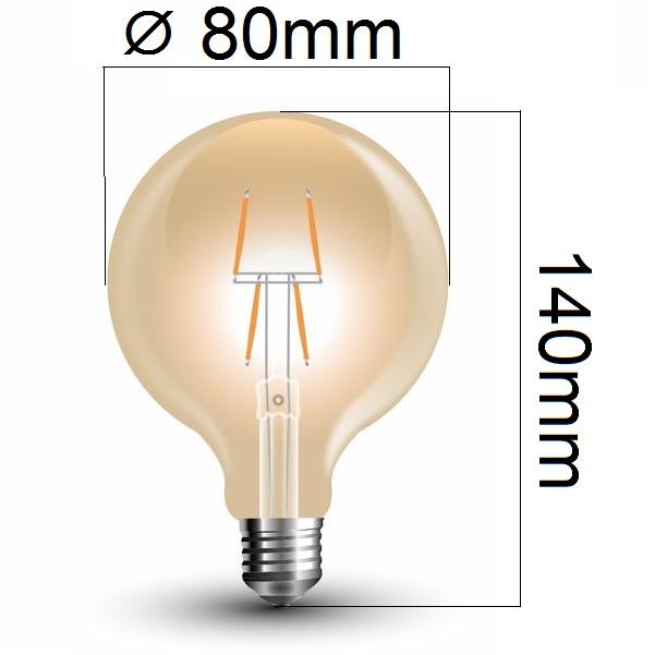 Retro LED žárovka E27 4W 400lm G80 extra teplá, filament, ekvivalent 40W