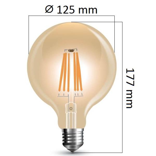 Stmívatelná retro LED žárovka E27 8W 700lm G125 teplá, filament, ekvivalent 60W