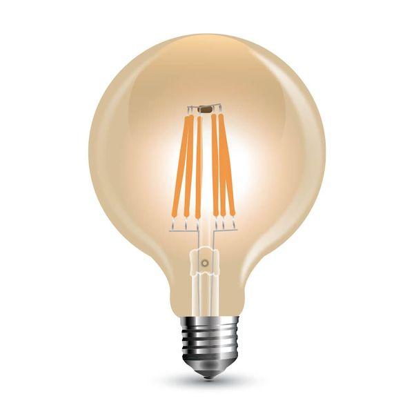 Stmívatelná retro LED žárovka E27 6W 500lm G95 teplá, filament, ekvivalent 50W