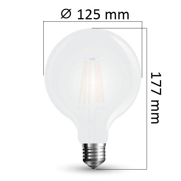 LED žárovka E27 7W 840lm G125 teplá,  filament, ekvivalent 60W