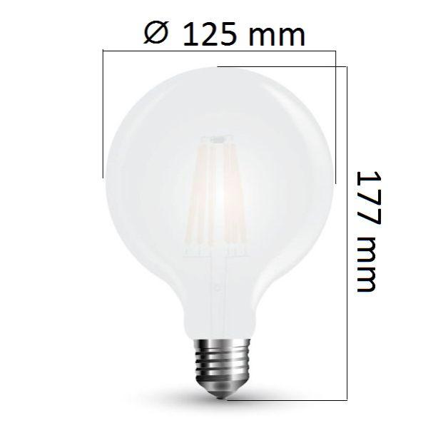 Retro LED žárovka E27 7W 840lm G125 teplá,  filament, ekvivalent 60W