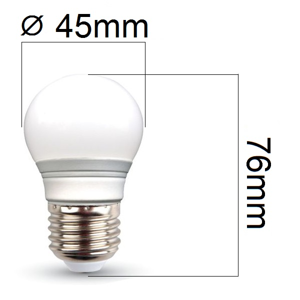 LED žárovka E27 3W 250lm G45, denní, ekvivalent 25W