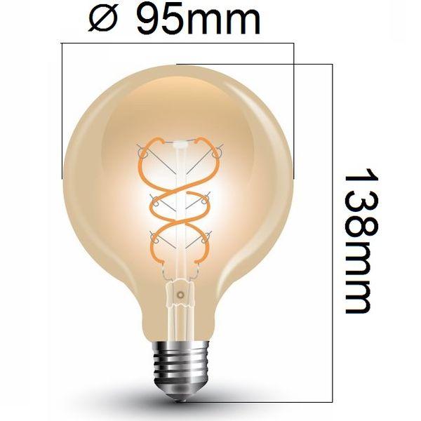 Retro LED žárovka E27 5W 300lm G95 teplá, filament, ekvivalent 30W