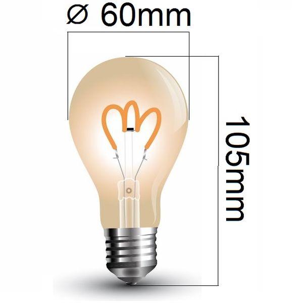 Retro LED žárovka E27 3W 150lm extra teplá, filament, ekvivalent 20W