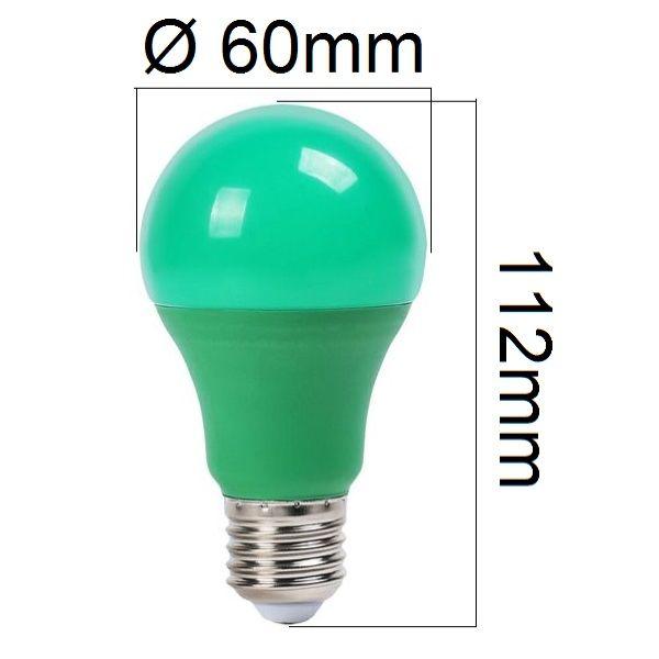 Barevná LED žárovka E27 9W 310lm zelená, ekvivalent 30W